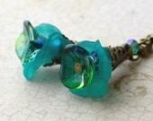 Teal Earrings, Teal Green, Blue Flower Earrings, Vintage Inspired Earrings - Enchanted Collection
