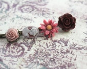 Flower Bobby Pins, Hair Flowers, Purple Merlot Rose, Maroon, Mauve Rose, Plum Daisy, Set of Four (4)