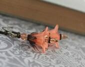 Peach Flower Earrings, Handmade Fashion Jewelry, Lucite Flower Earrings, Salmon Coral