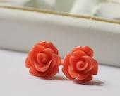 Rose Stud Earrings Tangerine Coral