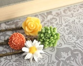 Bright Hair Accessories, Flower Bobby Pins, White Daisy Hair Pin, Yellow and Orange Flower, set of four (4)