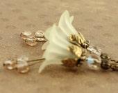 Yellow Flower Earrings Light Buttercup Yellow Bellflower Nature Inspired Jewelry Handmade Earrings Cream Bridal Accessories Garden Botanical