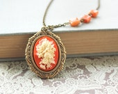 Tangerine Necklace, Cameo Necklace, Vintage Romantic,  Orange Jewelry, Tangerine Tango