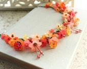 Lucite Flower Necklace, Flower Charm Necklace,Tangerine Jewelry, Flower Jewellery, Statement Necklace