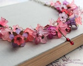 RESERVED fo Carol - Flower Charm Necklace, Lucite Flower Necklace, Fuchsia Pink, Mauve Purple, Berry Merlot, Pale Pink