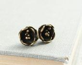 Brass Jewelry Flower Earrings, Bronze, Stud Earrings, Dainty Earrings, Buttercup Blossom, Unique, Antique Gold