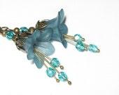 Deep Teal Earrings, Teal Blue Dangle, Lucite Flower Drop Earrings, Bridal Jewelry, Floral Accessories