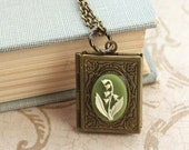 Lily of the Valley Necklace Book Locket Necklace Antique Brass Locket Pendant Etched Secret Hiding Place Photo Keepsake Storybook Book Lover