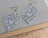 White Patina Earrings, Patina Jewelry, Filigree Earrings, Boho Chic, Long Earrings, Painted Patina
