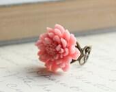 Chrysanthemum Flower Ring, Pretty in Pink, Large Flower Ring, Pastel Pink, Rose Pink, Adjustable Filigree Ring