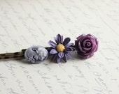 Flower Hair Pins, Purple Rose, Dark Violet Daisy, Mauve Cameo, fashion hair accessories - Set of Three (3)