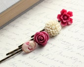 Flower Bobby Pins, Raspberry Red, Cream Hair Flowers, Hair Accessories, Cranberry Merlot, Ivory Flower, Face, Silhouette- Set of Four (4)