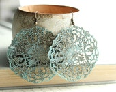 Large Filigree Earrings, Lacey Pattern, Spanish Doily, Denim Blue, Aqua, Turquoise, Rustic, Patina Jewelry, Boho Chic - apocketofposies