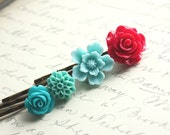 Flower Bobby Pins, Cranberry Red Rose, Aqua Blue, Teal Blue, Turquoise, Floral Hair Accessories