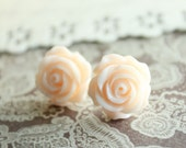 Rose Stud Earrings, Pale Peach, Bridal, Floral Spring Jewelry, Pastel Resin Rose, Shabby Chic