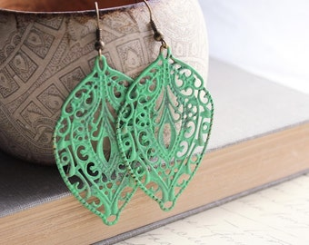 Patina Earrings Large Filigree Earrings Jade Green Patina Leaf Long Dangle Earrings Patina Jewelry Bohemian Accessories Lace Drop Earrings