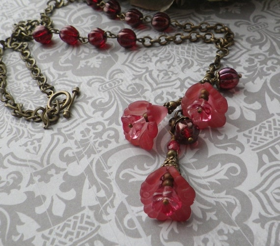 Charm Necklace with Cherry Flower Drops on Antique Brass Chain Handcrafted