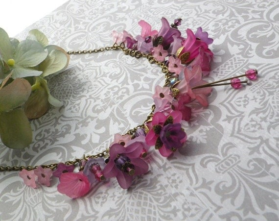 Raspberry Merlot Orchard Charm Necklace Handcrafted