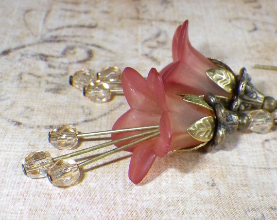 Flower Earrings in Strawberry Blush Pink with Antique Brass Leaf Details - Whimsy Collection