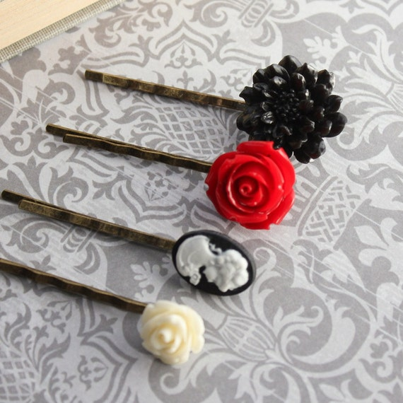 Reserved For Rebecca - Flower Bobby Pins, Crimson Red Rose, Black Chrysanthemum, Black and White Cameo, Gothic Romance