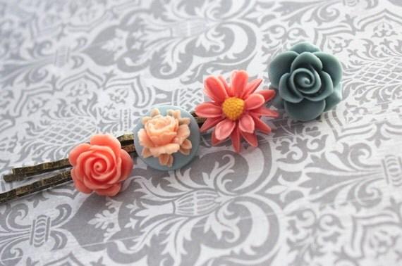 Flower Bobby Pins, Denim Blue Rose, Coral Rose, Coral Daisy, Peach Flowers, Flower Hair Pins - Set of Four (4)