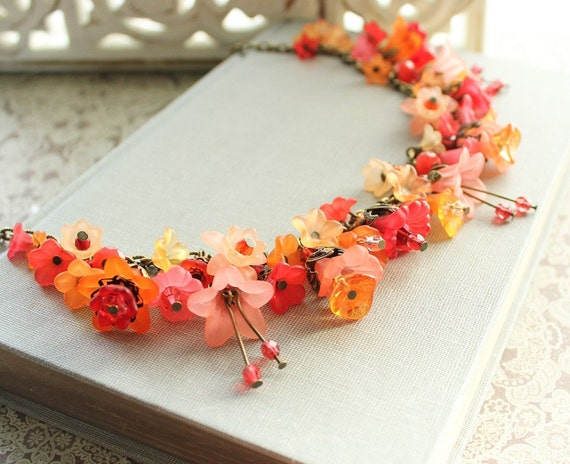Lucite Flower Necklace, Flower Charm Necklace,Tangerine Jewelry, Flower Jewellery, Statement Necklace