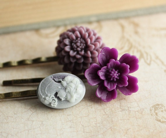 Purple Flower Hair Pins, Hair Accessories, Flowers for Hair, Cameo  and Flowers - Set of Three (3)