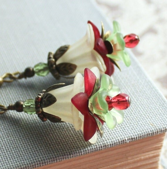Lucite Flower Earrings, Leaf Details, Cranberry Red, Christmas, Butter Yellow and Sage Green, Rhubarb Red