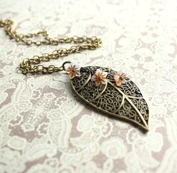 Filigree Leaf Necklace, Long Necklace, Flower Necklace, Glass Beaded Charm, Large Leaf Pendant