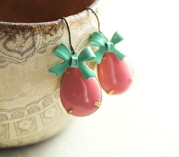 Vintage Glass Earrings, Pink Teardrop, Aqua Bow Earrings, Opaque Pink Earrings