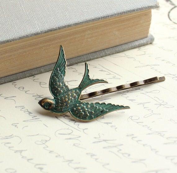 Bird Bobby Pin, Flying Bird, Vintage Patina, Nature Hair Accessories, Modern Woodland