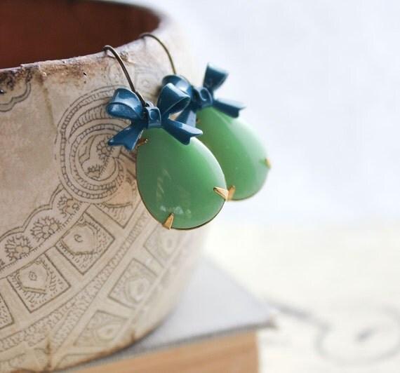 Vintage Glass Earrings, Green Teardrop, Teal Blue Bow Earrings, Opaque Green Earrings, Estate Style Jewelry