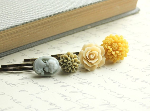 Floral Hair Accessories, Honey Gold, Yellow Flowers, Olive Green, Cameo, Rose, Flower Bobby Pins,Flowers for Hair -  Set of Four (4)