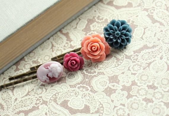 Flower Hair Pins Navy Blue, Peach Coral, Maroon, Cameo, Hair Accessories, Rose Hair Pins - Set of Four (4)