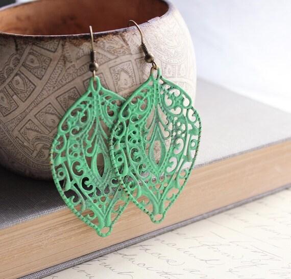 Patina Earrings Large Filigree Earrings Jade Green Patina Leaf Long Dangle Earrings Patina Jewelry Bohemian Accessories Lace Drop Earrings