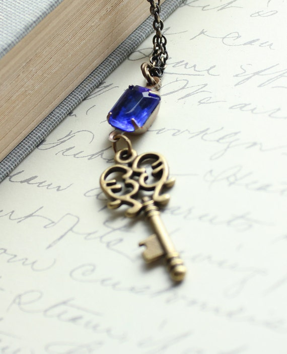 Skeleton Key Necklace, Sapphire Blue Glass, Vintage Rhinestone, Patina Brass, Estate Style Jewelry