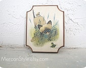 Siamese Cat Plaque Big Eyed Art George Buckett