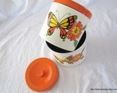 Lacquerware Canisters butterfly pattern (PAIR)