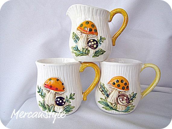 Mushroom Cups Three piece coffee Set