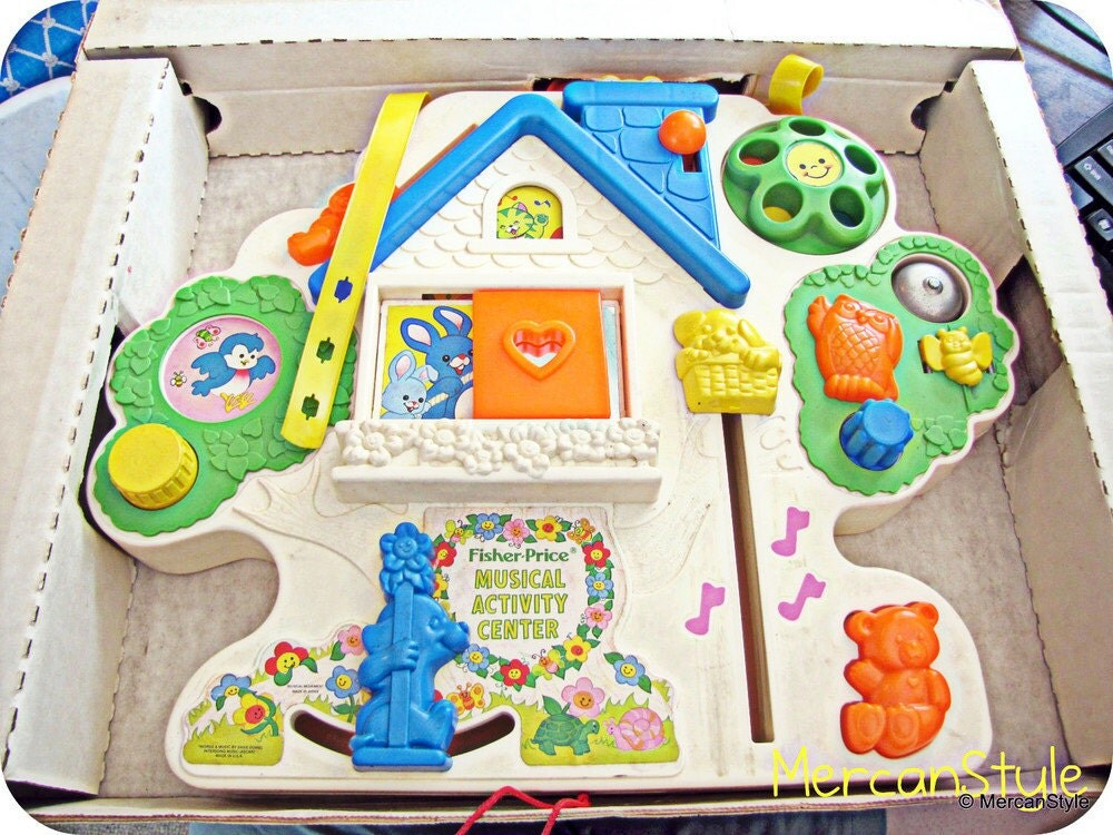 vintage fisher price musical activity center with box. Black Bedroom Furniture Sets. Home Design Ideas