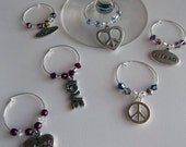 Hippie Lovers Wine Charms