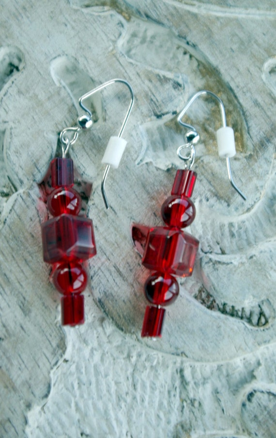 "Earrings ""My Love in Passion Red"" by Mary branchonthebeadtree enjoy reading the poem below, Sold Separately"
