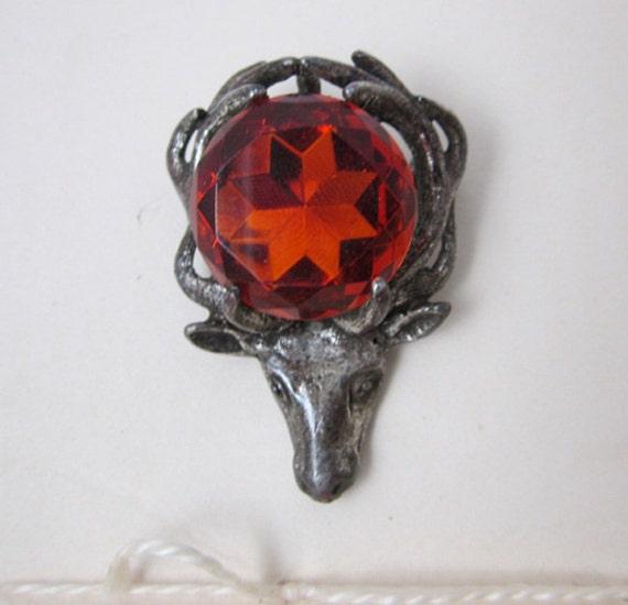 Vintage Reindeer Head with Orange Glass Stone Pendant/Brooch Signed Miracle
