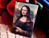 Necklace Leonardo da Vinci - Mona Lisa on Dark Brown Leather