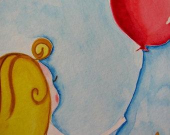 Red Balloon - Original Watercolor - Fairy Girl