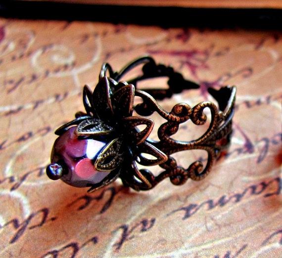 SALE 70% off - Purple Plum Blooming Flower Antique Bronze Filigree