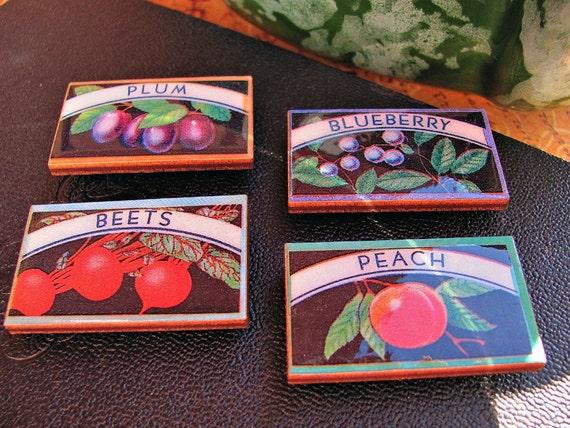 Refrigerator Magnets Vintage Canning Labels Set 3