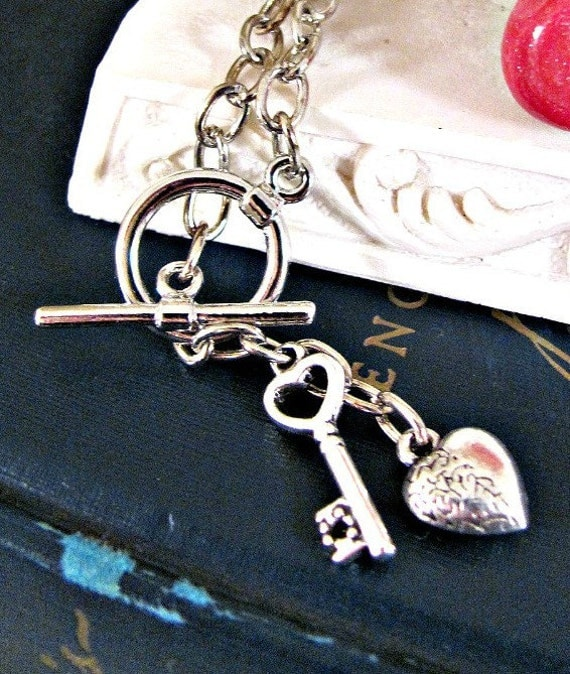 Heart and Key Charm Bracelet with Toggle Clasp