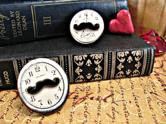 ON SALE 50% off Mustache Clock Ring Seven O'Clock- Adjustable