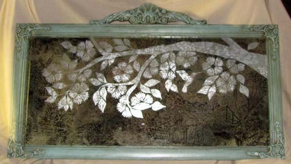 Etched Mirror Laced Silver in Antique Frame
